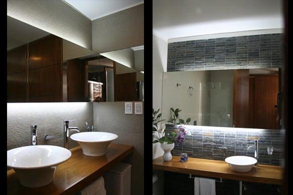 Iluminacion Baño Moderno:Los baños son de estilo moderno con artefactos de colgar que permiten