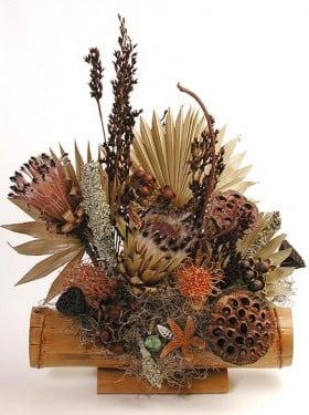 u los centros de flores secas