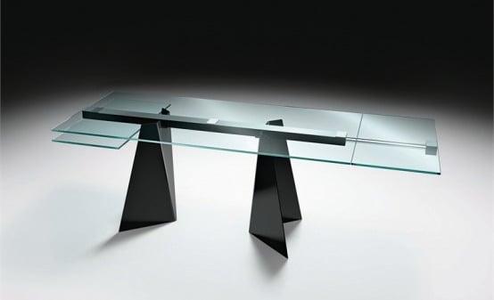 Mesas de vidrio con originales bases mdz online for Mesas de comedor originales
